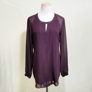 Cabi 3092 Port Entice blouse plum purple sheer SM